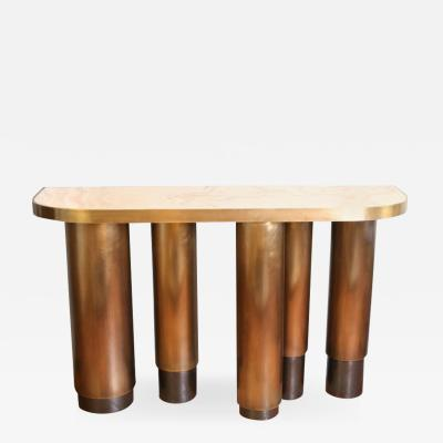 Arriau Console in Patinated Brass with Onyx Top Columnae by Arriau