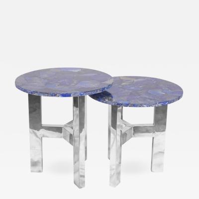Arriau Pair of Pedestals in Lapis Lazuli