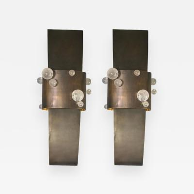 Arriau Pair of Sconces in Brass Patinated and Rock Crystal Model Bijou by Arriau