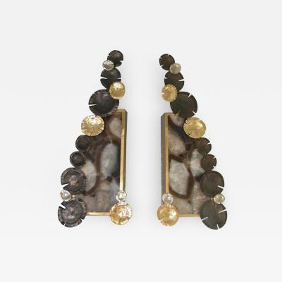 Arriau Pair of Sconces in Brass and Agate with Chiseled Nenuphars by Arriau