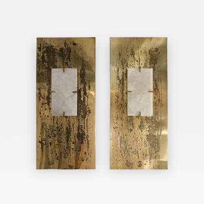 Arriau Pair of Sconces in Etched Brass and Alabaster Model Aquafortis by Arriau