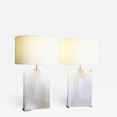 Arriau Pair of Table Lamps in Alabaster and Brass Model Alba by Arriau