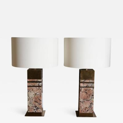 Arriau Pair of Table Lamps in Graphic Jasper and Brass Model IRUSIA by Arriau