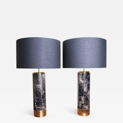 Arriau Pair of Table Lamps in Smokey Quartz and Brass Model Kristalia by Arriau