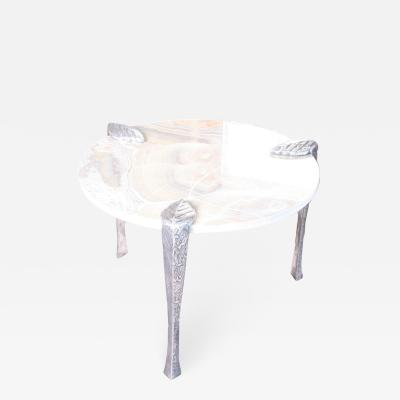 Arriau Pedestal in Onyx and Etched Cast Aluminium Legs Model Leaf by Arriau