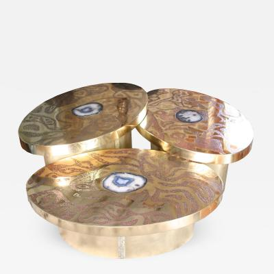 Arriau Set of Three Oval Coffee Table Maelstrom in etched brass and agate by Arriau