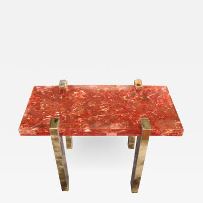 Arriau Side Table Petram in Etched Brass and Fractal Resin by Arriau