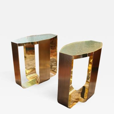 Arriau Side Table in Polished and Patinated Brass Signed Arriau