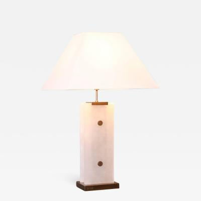 Arriau Table Lamp in Alabaster and Patinated Brass by Arriau Mineralium