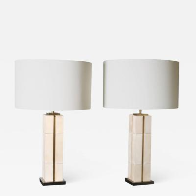 Arriau Table Lamp in Patinated Brass and Parchment Kubbe