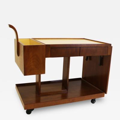 Art Moderne Art Moderne Bar Cart 1940s Brown Mahogany Art Deco