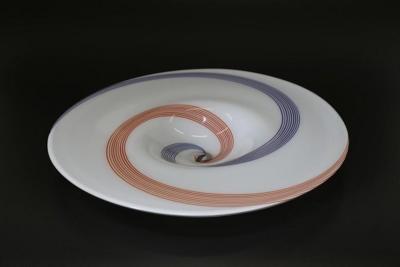 Arte Vetraria Muranese A V E M A Ve M AVeM 1960s Italian White Murano Glass Extra Large Platter with Orange Blue Murrine