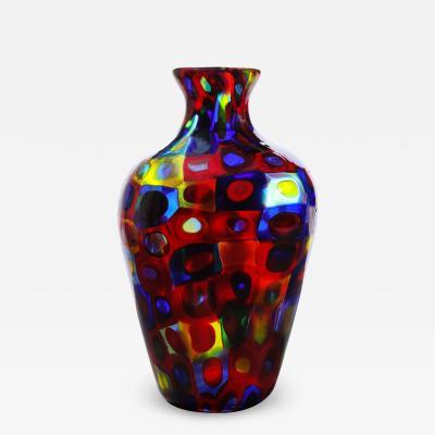 Arte Vetraria Muranese A V E M A Ve M AVeM Handblown Glass Vase with Large Murrhines by A V E M 1950s