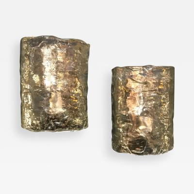 Arte Vetro Murano Italian Pair of Cylindrical Wall Lights in Frosted Murano Glass 1960s