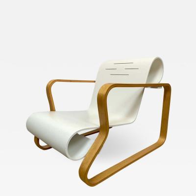 Artek Alvar Aalto Paimio Birch and White Armchair 41 for Artek Finland 1970s