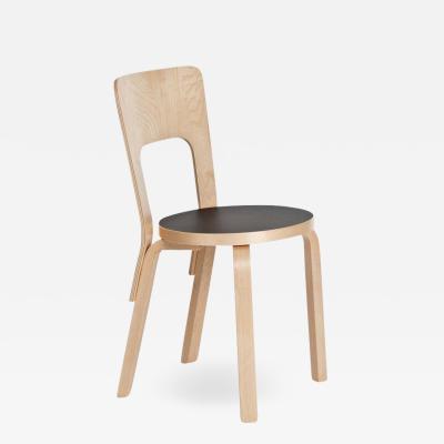 Artek Authentic Chair 66 in Lacquered Birch with Linoleum Seat by Alvar Aalto Artek