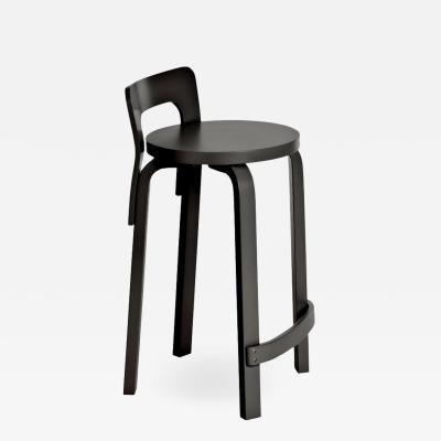 Artek Authentic High Chair K65 in Birch with Black Lacquer by Alvar Aalto Artek