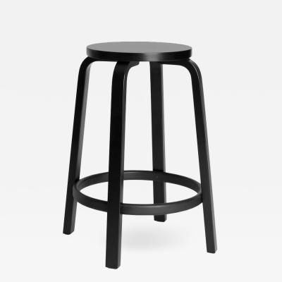 Artek Authentic High Stool 64 Counter Stool in Black by Alvar Aalto Artek
