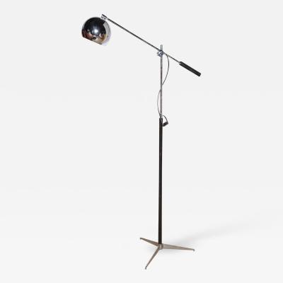 Arteluce Arteluce Chrome Tripod Floor Lamp with Globe Shade Black Enamel and Leather