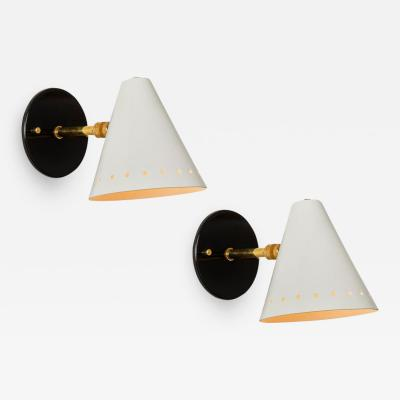 Arteluce Pair of Black White 1950s Italian Sconces in the Manner of Arteluce