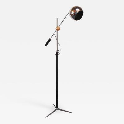 Arteluce Single Arm Counterbalance Chrome Globe Floor Lamp by Arteluce