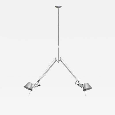 Artemide Artemide Tolomeo Fiber Double Pendant Lamp in Chrome 2015 signed