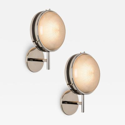 Artemide Pair of 1960s Sergio Mazza Glass and Metal Sconces for Artemide