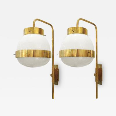 Artemide Pair of Sergio Mazza Italian Glass and Brass Delta Sconces by Artemide