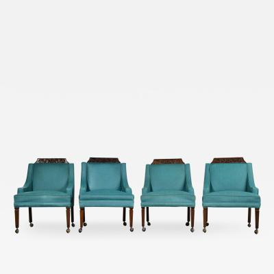 Artes De Mexico 4 spanish style rolling game chairs with turquoise vinyl original upholstery
