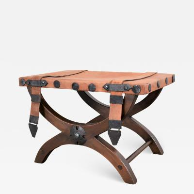 Artes De Mexico Spanish revival curule foot stool ottoman w leather seat straps