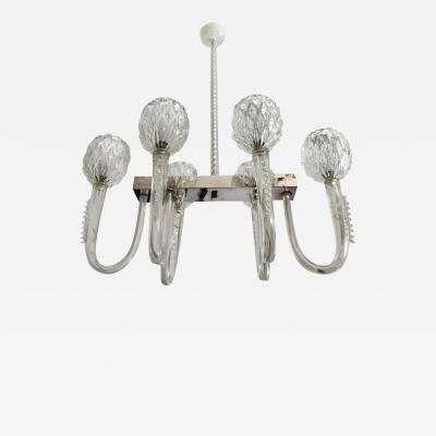 Artisti Barovier Barovier 1940s Moderne Murano Glass Chandelier