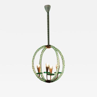 Artisti Barovier Barovier Green Hand Blown Murano Glass Chandelier