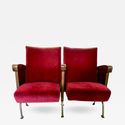 Ascol Pair of Red Velvet Cinema Seats by Ascol with Wooden Structure Italy 1950s