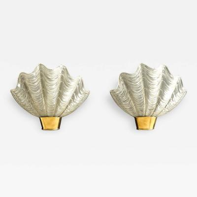 Asea Pair of Shell Shaped Coquille Wall Lamps by ASEA Skandia Sweden 1940s