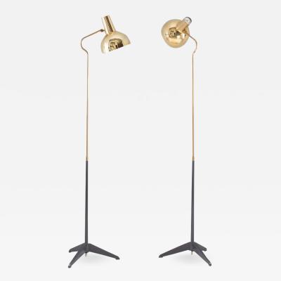 Asea Pair of Swedish Midcentury Floor Lamps in Brass by ASEA 1960s