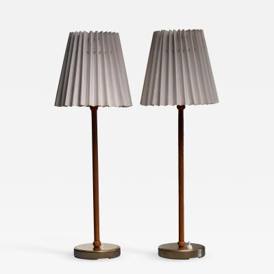 Asea Pair of brass and leather ASEA table lamps