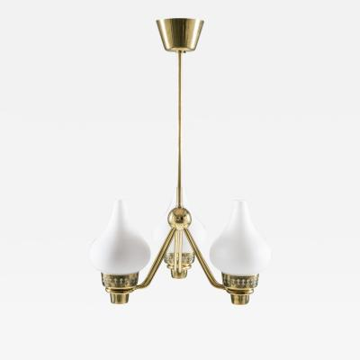 Asea Swedish Chandelier in Brass and Opaline Glass ASEA
