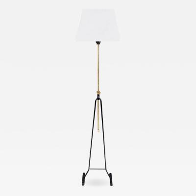 Asea Swedish Mid Century Floor Lamp in Brass and Metal by ASEA