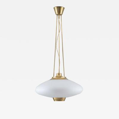 Asea Swedish Midcentury Chandelier in Brass and Glass by Hans Bergstr m for ASEA