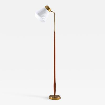 Asea Swedish Midcentury Floor Lamp in Brass and Teak by ASEA 1950s