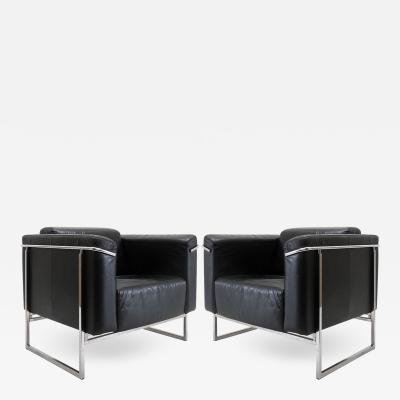 Asko Pair of Asko Classio Leather Chairs Model 8283