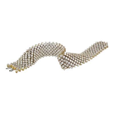 Asprey ASPREY 18K YELLOW GOLD FLEXIBLE 27 CARAT ROUND CUT DIAMOND BRACELET