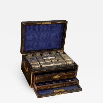 Asprey Asprey An Early Victorian Cut Glass Dresser Set in a Macassar Ebony Case