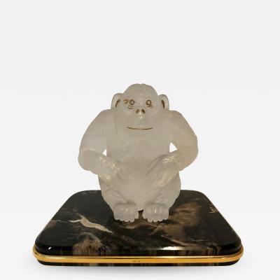 Asprey Asprey Carved Rock Crystal Gorilla Diamond Eyes and 18 Karat Gold Accents