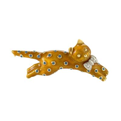 Asprey Asprey London Diamond Gold and Enamel Cat Brooch