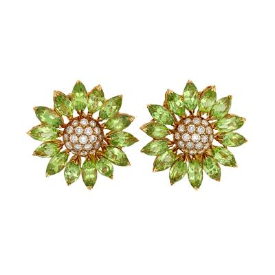 Asprey Asprey Peridot Diamond Flower Clip Earrings