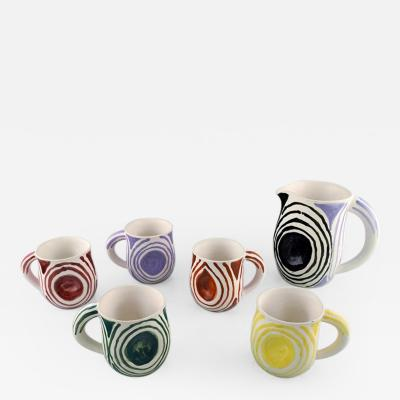 Atelier Cerenne of Vallauris Set of five unique handpainted cups and jug in glazed stoneware