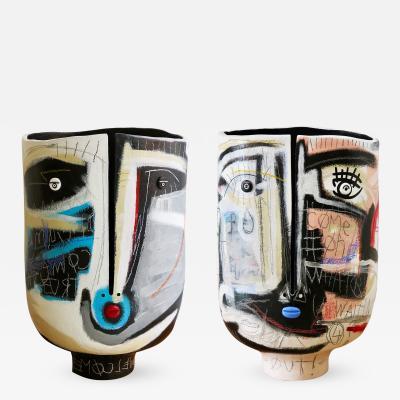 Atelier Dalo Matched Pair of Ceramic Vase Sculpture by Atelier Dalo Gregoire Devin