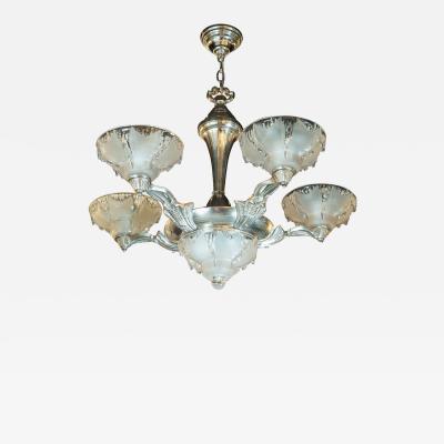 Atelier Petitot Ezan Glass Art Deco Frosted Glass Chandelier w Silvered Bronze Fittings by Ezan Petitot