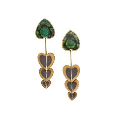 Atelier Zobel Rare Zobel Modernist Gold Tourmaline and Diamond Pendant Earrings
